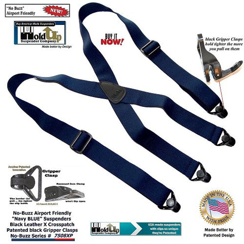 Airport Friendly No-Buzz Navy Blue X-back suspenders with patented Gripper Clasps