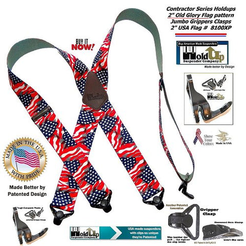 American made Holdup Old Glory X-back wide work suspenders with patented jumbo Gripper Clasps.