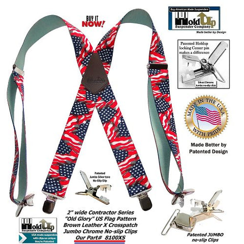 Old Glory wide USA Flag pattern men's X-back Holdup suspenders with patented no-slip jumbo clips