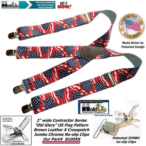 "Holdup Suspender Company introduces the ""Old Glory"" American Flag suspenders which are made in the USA"