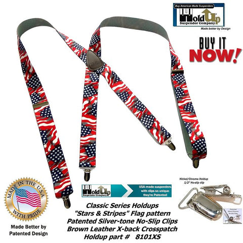 Classic Holdup Clip-on Men's Suspenders in USA Stars and Striped Flag patten in  X-back style with silver tone no-slip clips