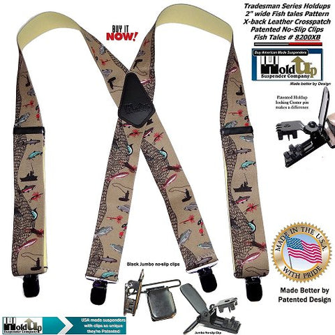 Holdup Fish Tales pattern X-back hunting and fishing suspenders with jumbo no-slip clips