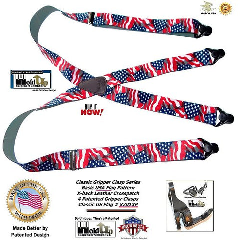 Holdup Suspender Company introduces Classic Series Stars & Strips American Flag suspenders which are made in the USA with black gripper clasps