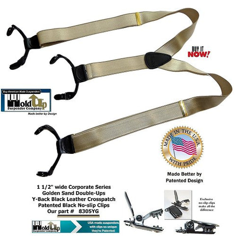 Corporate Series Golden Sabnd tan dual clip Double-Ups with patented black no slip clips