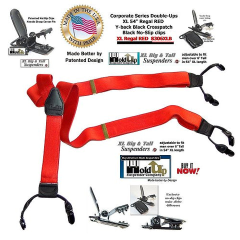 Corporate Series Dual clip Double-Up style Y-back REGAL RED Holdup suspenders with patented no-slip clips