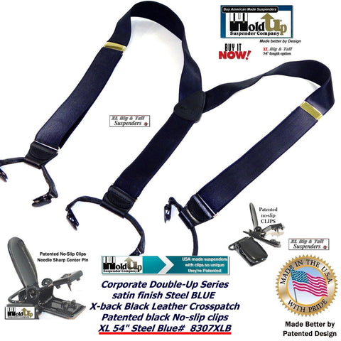 Holdup Brand XL big and tall mens satin finished deep Steel blue col9or dressy tuxedo party clip on suspenders