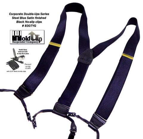 Dark Steel Blue satin finished Double-Up style Holdup suspenders