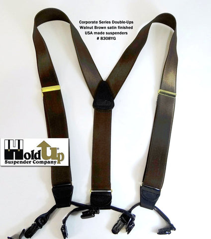 Dark Walnut Brown Corporate Series dual clip Double-Up style Holdup Suspenders