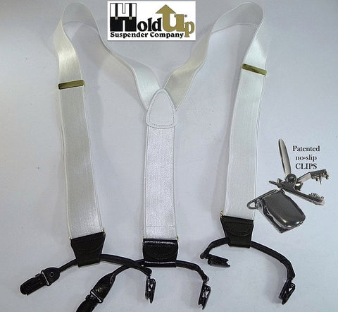 The beautiful satin white dense weave White House Double-Up suspenders are the perfect suspender for wearing with a white tuxedo