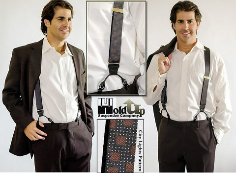 These are the City Lights designer pattern dual clip Double-Ups style suspenders that look and wear like button on suspender braces