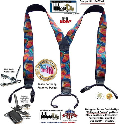 Collage of Colors dual Clip Double-Up style Holdup Suspenders with patented black center pin type clips