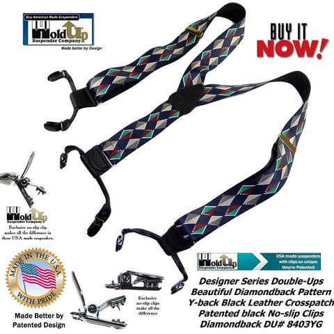Designer Series dual Clip Double-Up style dressy suspenders in Diamondback pattern of colorful diamonds are made in the USA by Holdup Suspnder Company