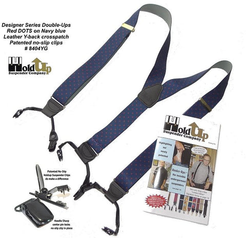 Red DOTs on navy blue Designer Series dual clip Double-Ups style Holdup suspenders