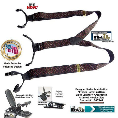French Horns pattern Holdup Double-Up style dressy USA made Y-back suspenders with patented No-slip clips