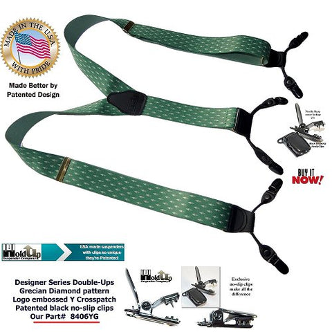 Greek Diamond pattern Double-Ups Style Holdup dual clip Designer series suspenders with no-slip pin clips