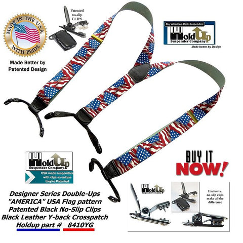 Designer Series dual Clip Double-Up style dress USA flag pattern suspenders with patented no-slip clips