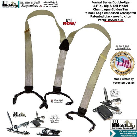"Formal Series USA made Champagne Golden Tan Y-back suspenders with Patented black No-slip clips in big and tall XL 54"" size"