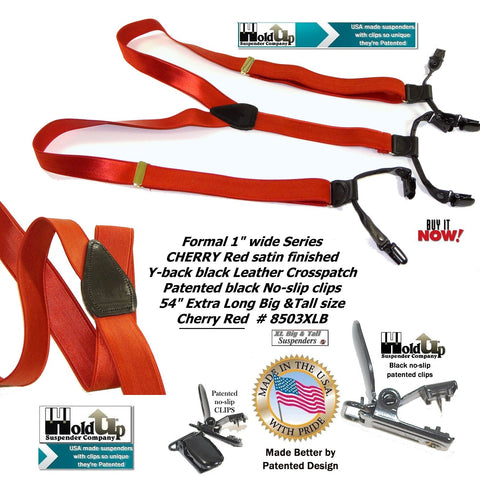 "1"" wide and 54"" extra long 54"" dual patented no-slip® clips Double-Ups® look like button-on suspenders with shiny dense weave smooth finish straps."