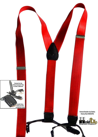 Cherry Red satin finished Dual clip Double-Up suspenders are made in the USA
