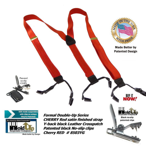 "Bright Cherry Red satin finished USA made 1"" wide straps on these Y-back dual clip Double-Ups from Holdup Suspender Company"