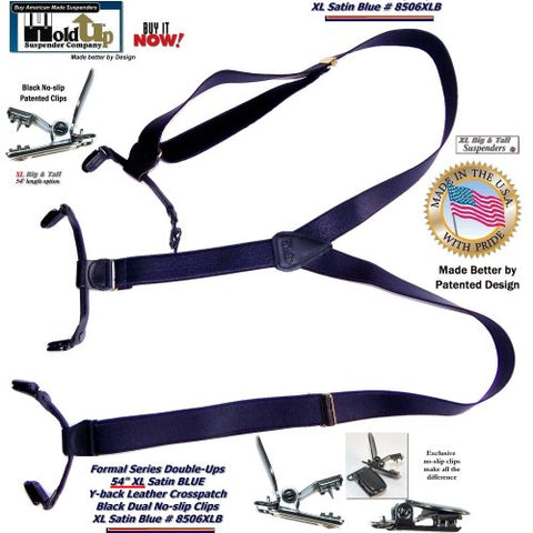 "American made Holdup Extra Long 1"" Wide Formal Blue Satin Finished Suspenders in Double-ups Style with black patented no-slip clips."