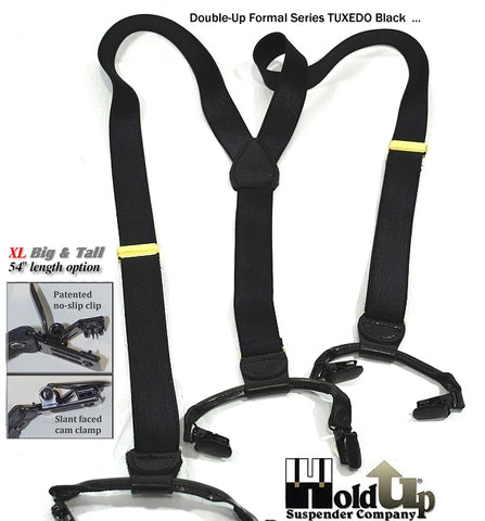 Tuxedo Black Dual Clip Double-Up style satin finished Formal Series Holdup suspenders