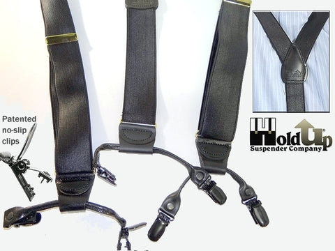 "Tuxedo black Holdup 1"" wide USA made dressy clip-on suspenders with satin finished dense weave straps"