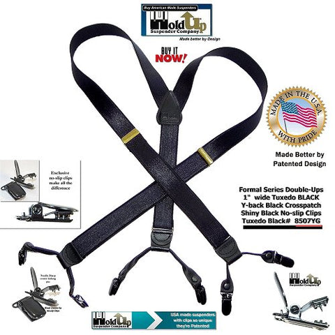 "American made Tuxedo black Holdup 1"" wide dressy clip-on dual clip Holdup suspenders with satin finished dense weave straps"