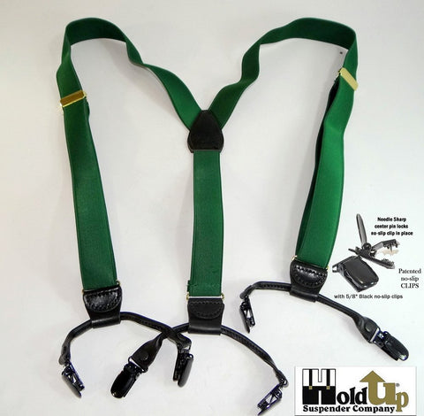 Dark Verde Green dual clip Double-Up style Holdup suspenders with dense weave satin finished narrow straps