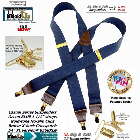 "Ocean blue XL Holdups have brown top grade leather tapered leather clip tab holders and double stitched X-style crosspatch in big and tall 54"" size"