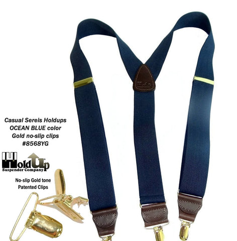Ocean Blue Y-back Casual Series Holdup Suspenders with gold tone patented no-slip clips