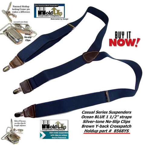 Ocean blue Y-back casual series Holdup USA made men's suspenders with patented silver-tone no-slip clips