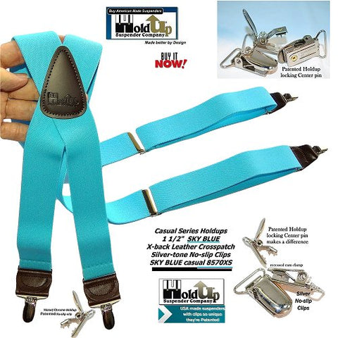 HoldUp bright Sky Blue X-back Suspenders with patented silver-tone no-slip clips and they're made in the USA better by patented design.