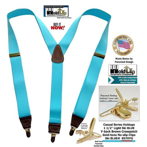 Ski Blue Casual Series Y-back Holdup suspenders with golden no-slip patented clips