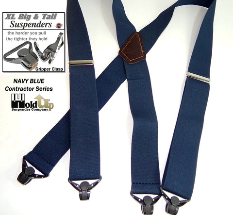 XL 54' long navy blue holdup X-back work suspenders