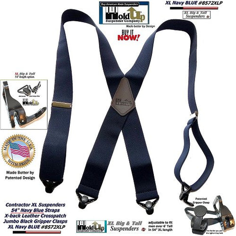 Navy blue heavy duty work suspenders in XL length with strong jumbo patented Gripper clasps and they're made in the USA