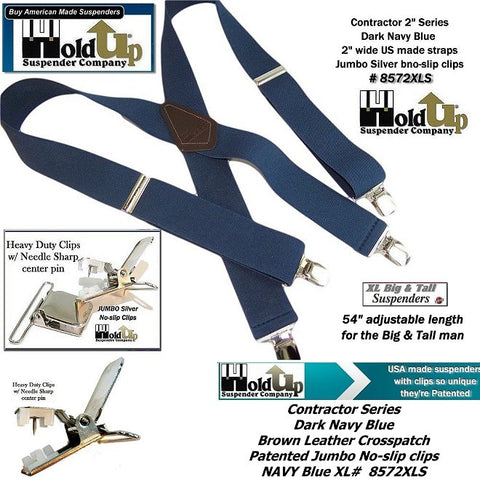 "tasteful ""Navy Blue"" color Contractor Series HD clip-on Holdup work suspenders"