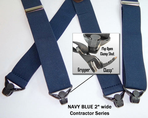 navy blue holdup work suspenders with patented jumbo gripper clasps