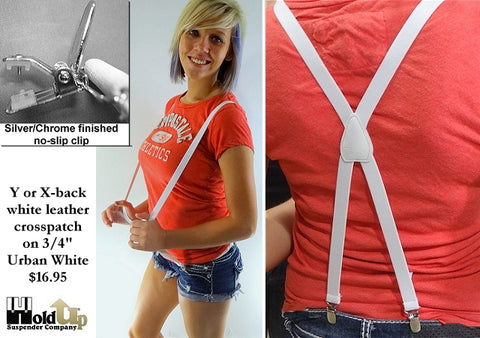 All white x-back Holdup Urban Youth suspenders with silver patented no-slip clips