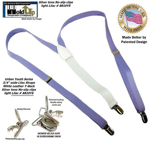 Light Lilac purple Urban Youth Series Y-back suspender for girls with patented no-slip clips