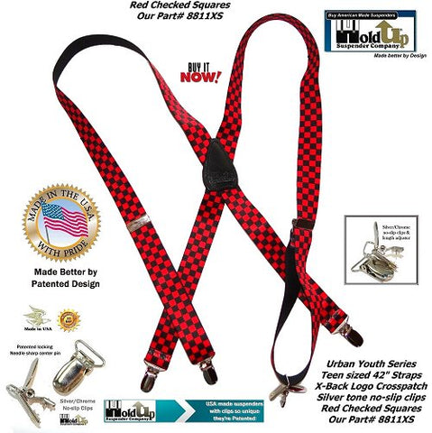 Teen sized red and black checkered Urban youth X-back Holdup suspenders with patented silver no-slip center pin type clips and they're made in the USA