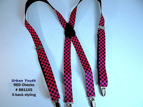 silver no-slip clips on these adjustable red and black checkered suspenders