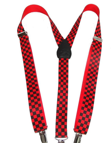 "Hold-Ups Urban Youth Red and Black Checkered Flag 1"" wide Y-back girls Suspenders"