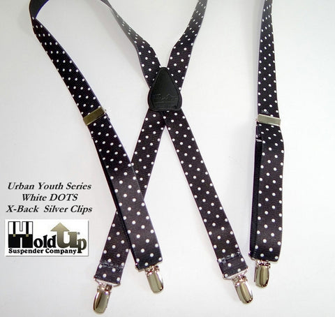 White Dots on black USA made suspender straps with X-back black leahter crosspatch make these a hit with Guys and gals