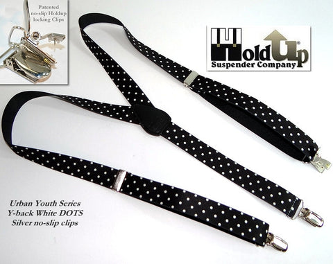 White Dots on black strap Y-back style Teen suspenders with silver patented no-slip clips