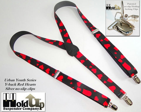 "Hold-Ups Urban Youth Red Hearts pattern 1"" wide Suspenders in Y-back with No-Slip Silver Clips"