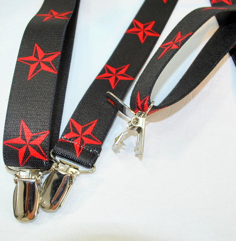 Red stars on black USA made elastic straps in this teen sized Holdup Y-back Holdup suspenders