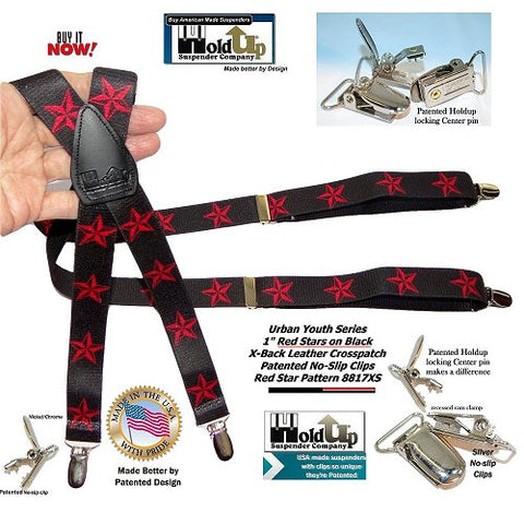 Urban Youth Series Teenager Red Stars on black X-back Holdup Suspenders with patented silver no-slip clips