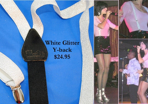 silver glitter USA made holdup suspenders for girls