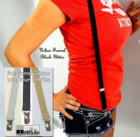 Urban youth Holdup Glitter Black suspenders in Y-back style with patented silver no-slip clips